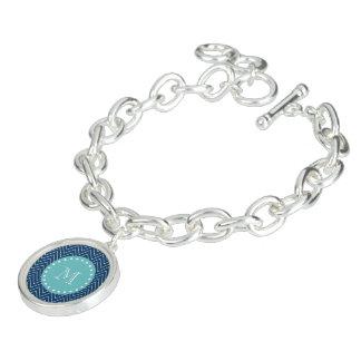 Monogramme turquoise du motif | de Chevron de bleu Bracelets Avec Breloques