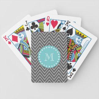 Monogramme turquoise du motif   de Chevron de gris Jeu De Poker