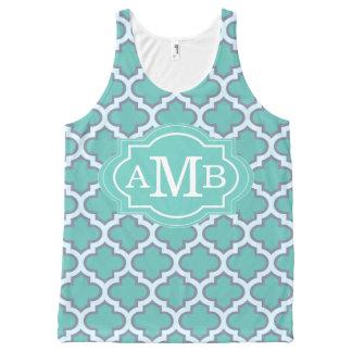 Monogramme turquoise élégant de coutume de motif débardeur tout-imprimé