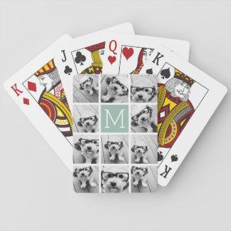 Monogramme unique vert en bon état de coutume de jeux de cartes