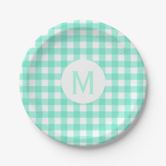 Monogramme vert en bon état de base simple de assiettes en papier
