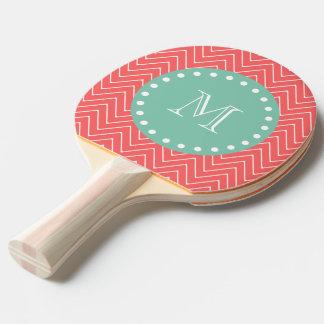 Monogramme vert en bon état de corail du motif | raquette de ping pong