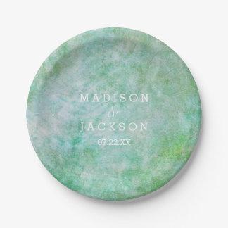 Monogramme vert en bon état de mariage d'aquarelle assiettes en papier