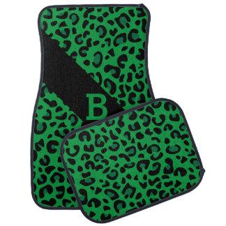 Monogramme vert et noir de l'empreinte de léopard tapis de sol