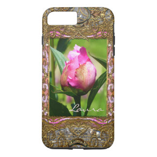 Monogramme VII Girly de bourgeon de pivoine Coque iPhone 7 Plus