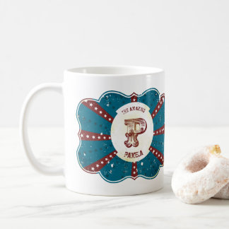 """Monogramme vintage blanc et bleu rouge """"P """" de Mug"""