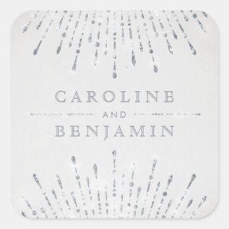 Monogramme vintage de mariage de deco argenté sticker carré