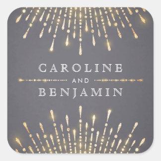 Monogramme vintage de mariage d'or de deco sticker carré