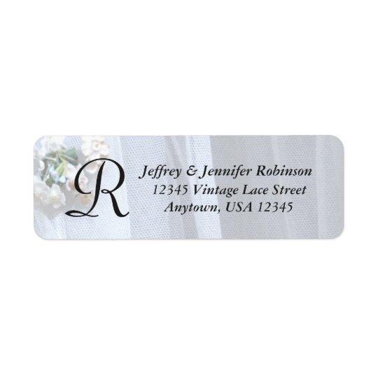 Monogramme vintage d'étiquette de nom et adresse étiquettes d'adresse retour