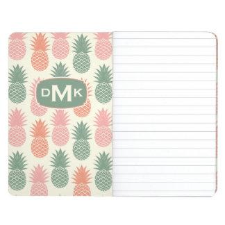 Monogramme vintage du motif | d'ananas carnet de poche