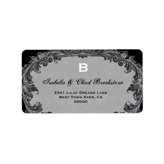 Monogramme vintage gris G460 de mariage Étiquette D'adresse