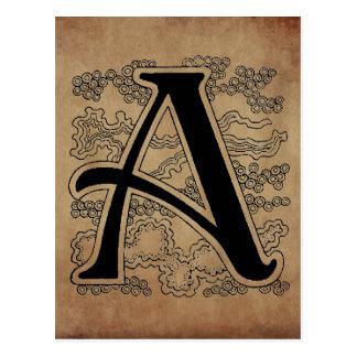 Monogramme vintage la lettre un manuscrit carte postale