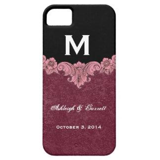 Monogramme vintage noir rose de Bourgogne épousant Coque Barely There iPhone 5