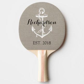 Monogramme vintage rustique de mariage d'ancre raquette de ping pong