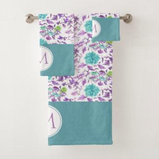 Monogramme violet de motif de belle turquoise