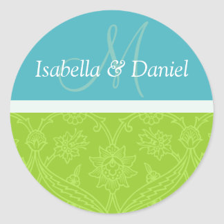 Monogrammes bleus et verts de jeunes mariés sticker rond