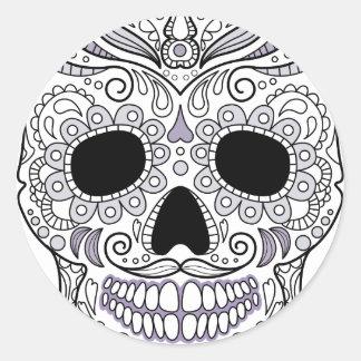 Monogrammes de crâne sticker rond