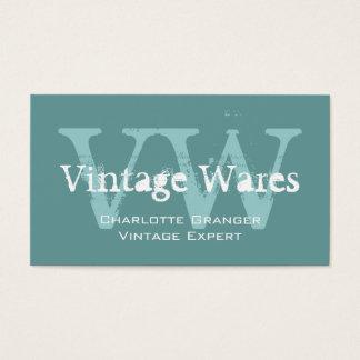 Monogrammes vintages blancs bleus de carte de