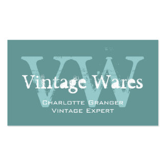 Monogrammes vintages blancs bleus de carte de visi carte de visite standard