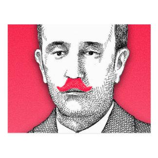 Monsieur vintage avec la moustache rose drôle carte postale