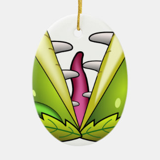 monstre d'attrape-mouche de venus ornement ovale en céramique
