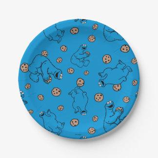 Monstre de biscuit et motif bleu de biscuits assiettes en papier