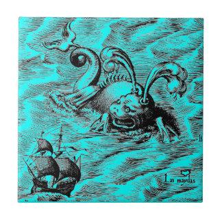 Monstre de mer et bateau de navigation arctiques petit carreau carré