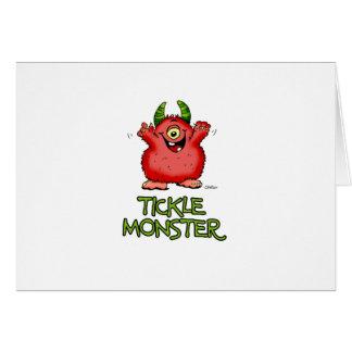 Monstre rouge mignon de chatouillement par cartes