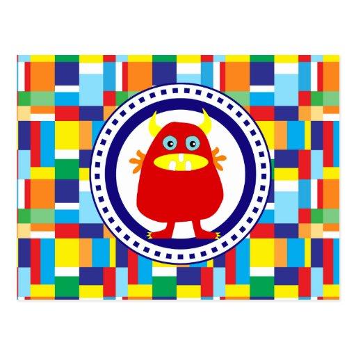 Monstre rouge mignon sur les blocs colorés de patc carte postale