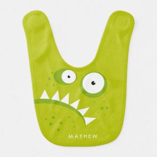 Monstre vert effrayant drôle fâché grincheux bavoir de bébé