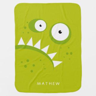 Monstre vert effrayant drôle fâché grincheux couverture de bébé