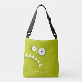 Monstre vert effrayant drôle fâché grincheux sac