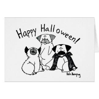 Monstres de carlin de Halloween Carte De Vœux