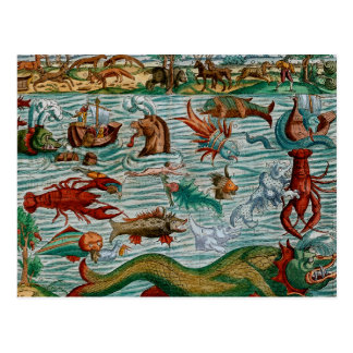 Monstres de mer vintages carte postale