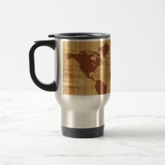 Montage antique vintage de carte du monde mug de voyage en acier inoxydable