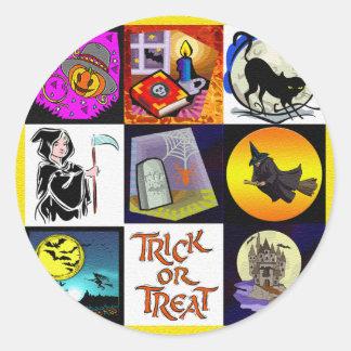 Montage de bande dessinée de Halloween Adhésifs Ronds
