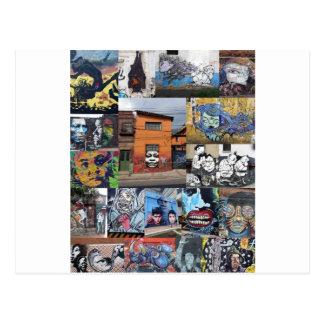 Montage de peinture murale d'art de rue de Bogota Cartes Postales