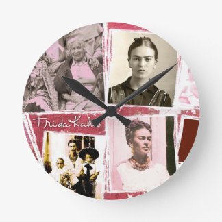 Montage de photo de Frida Kahlo Horloge Ronde