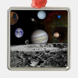 Montage des planètes et des lunes de Jupiter Ornement Carré Argenté