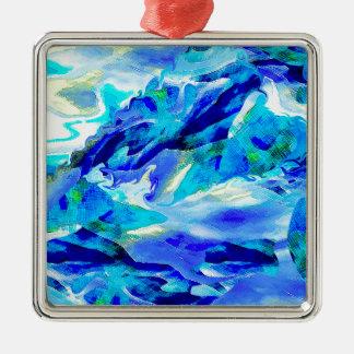 Montagne abstraite de bleu ornement carré argenté