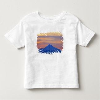 Montagne bleue couverte par neige orange de ciel t-shirt pour les tous petits