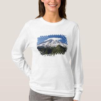 Montagne couverte par neige avec le ciel bleu et t-shirt