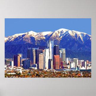 Montagne de ville et de San Gabriel de Los Angeles Poster