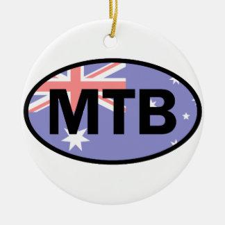 Montagne faisant du vélo le drapeau de l'Australie Ornement Rond En Céramique