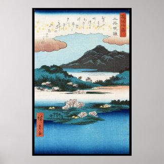 Montagne japonaise de waterscape d'ukiyo-e vintage posters