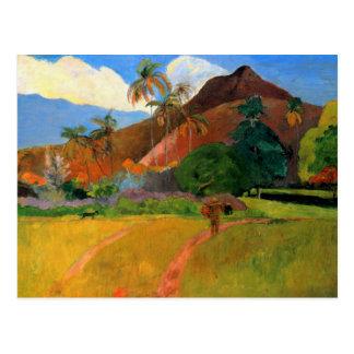 Montagnes au Tahiti Gauguin peignant coloré chaud Carte Postale