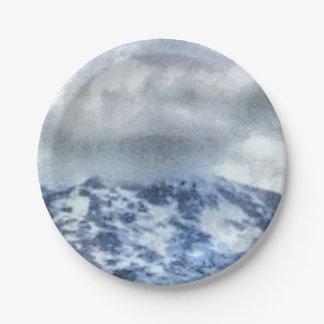 Montagnes couvertes par glace assiettes en papier