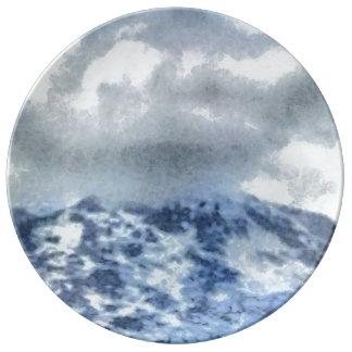 Montagnes couvertes par glace assiettes en porcelaine