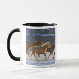 Montagnes de Big Horn, chevaux fonctionnant dans Mug