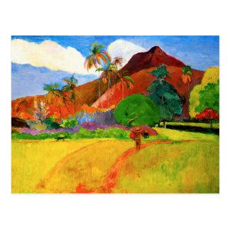 Montagnes de Gauguin en carte postale du Tahiti